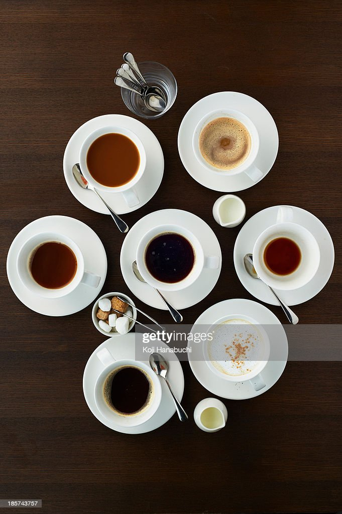 Still life with selection of coffees in cups : Stock Photo