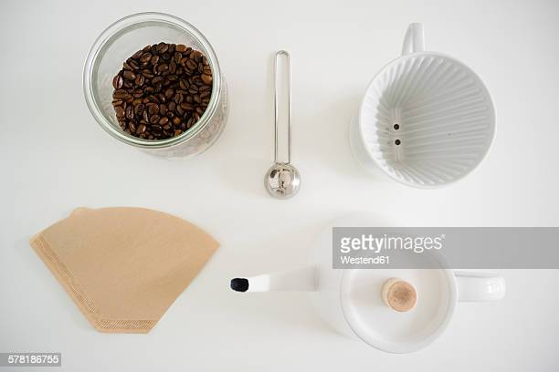 Still life with utensils for preparing filter coffee