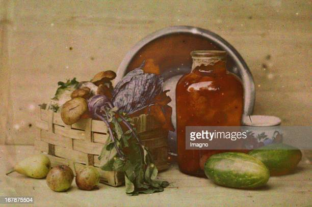 Still life with vegetables and mushrooms Autochrome Lumière Photograph probably by Franz Kaiser About 1908 See also image 00621240 Stillleben mit...