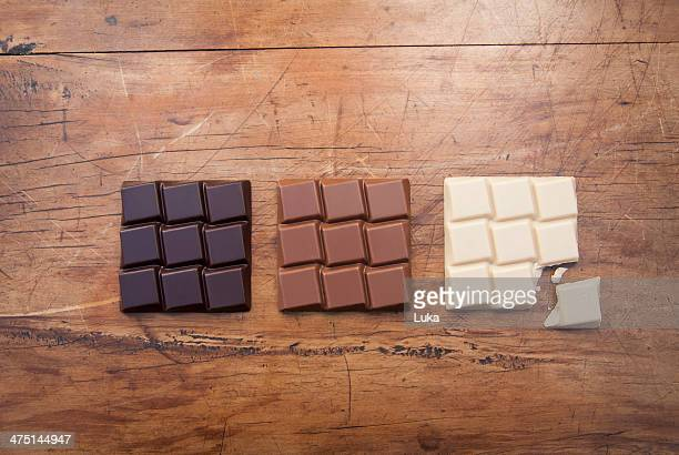Still life with white, dark and milk chocolate