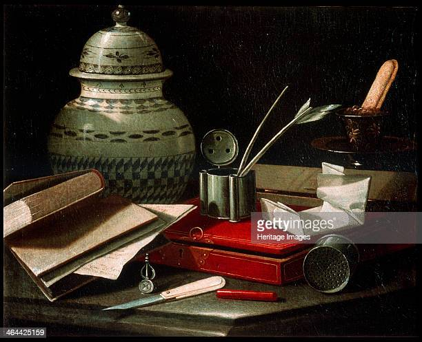 'Still Life with Writing Implements' late 17th or early 18th century Found in the collection of the State A Pushkin Museum of Fine Arts Moscow