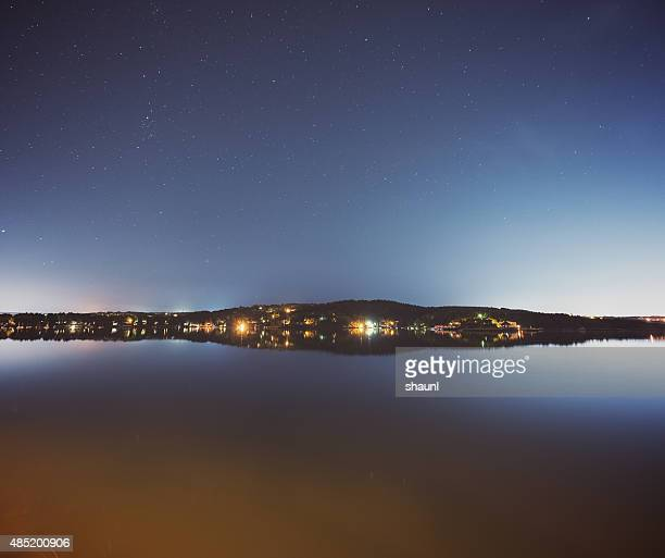still night on bedford basin - bedford nova scotia stock pictures, royalty-free photos & images