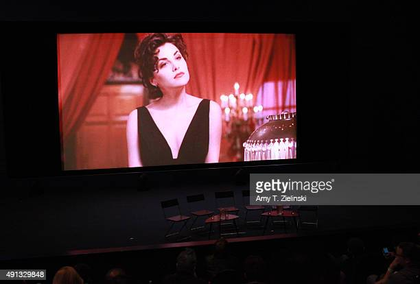 A still of a scene from Twin Peaks with the character Audrey Horne is projected before the QA with actors during the sixth annual Twin Peaks UK...