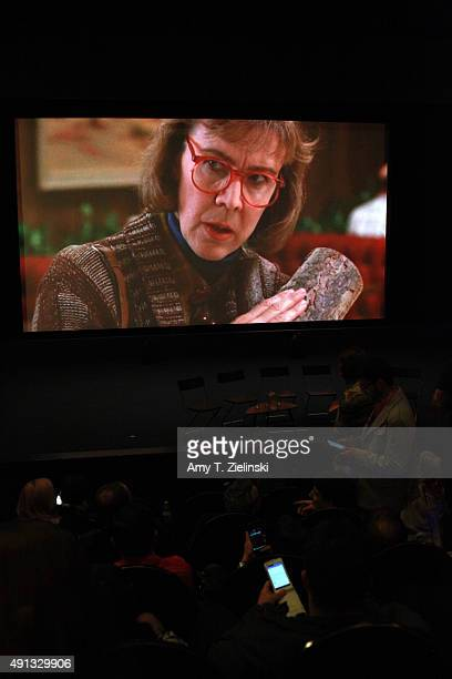 A still of a scene from Twin Peaks with the character of the Log Lady is projected before the QA with actors during the sixth annual Twin Peaks UK...