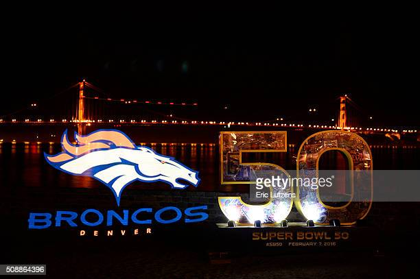 A still photograph of the Denver Broncos logo is painted with light using a Pixelstick during a 13 second long exposure at the St Francis Yacht Club...