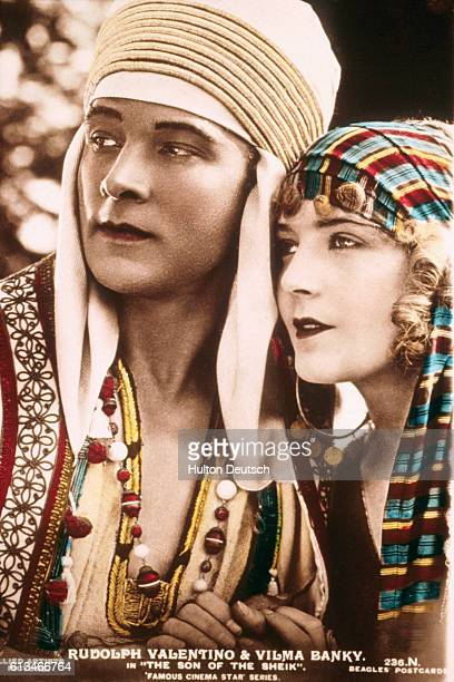 A still portrait of Rudolph Valentino Vilma Bankey from the 1926 film Son of the Sheik Valentino died suddenly that year of a ruptured ulcer at age...