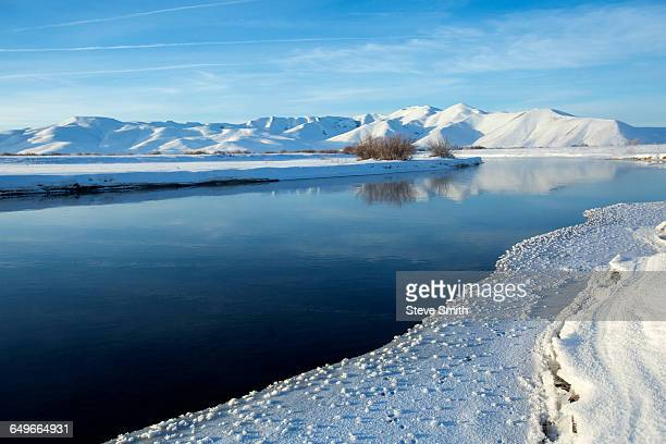 still river in snowy remote landscape - sun valley idaho stock photos and pictures