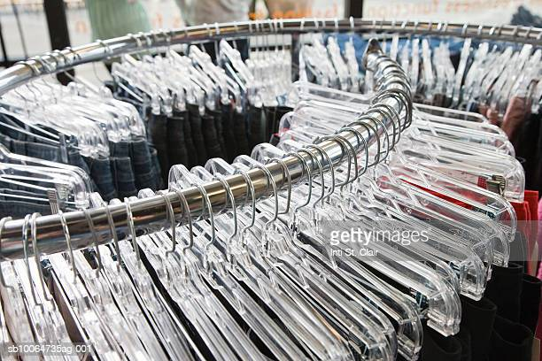 Still shot of clothing rack in boutique