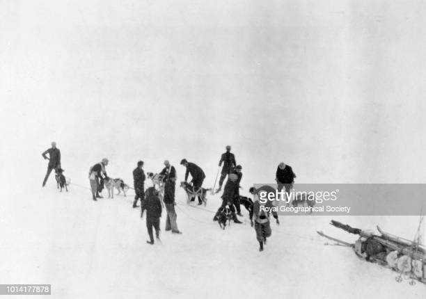 Still starting men from the Aurora set forth with dogs and skis Antarctica 1913 Imperial TransAntarctic Expedition 19141917