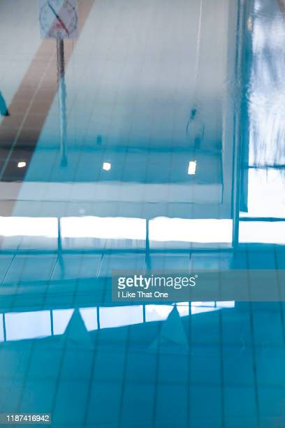 still swimming pool surface - atomic imagery stock photos and pictures