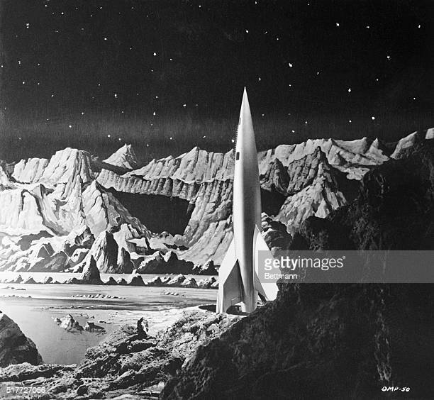"Still taken from the movie ""Destination Moon,"" which tells the story of man's first trip into outer space."