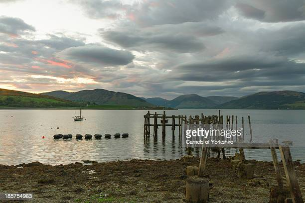 CONTENT] Still water at sunset looking towards the Kyles of Bute from Port Bannatyne Isle of Bute Scotland