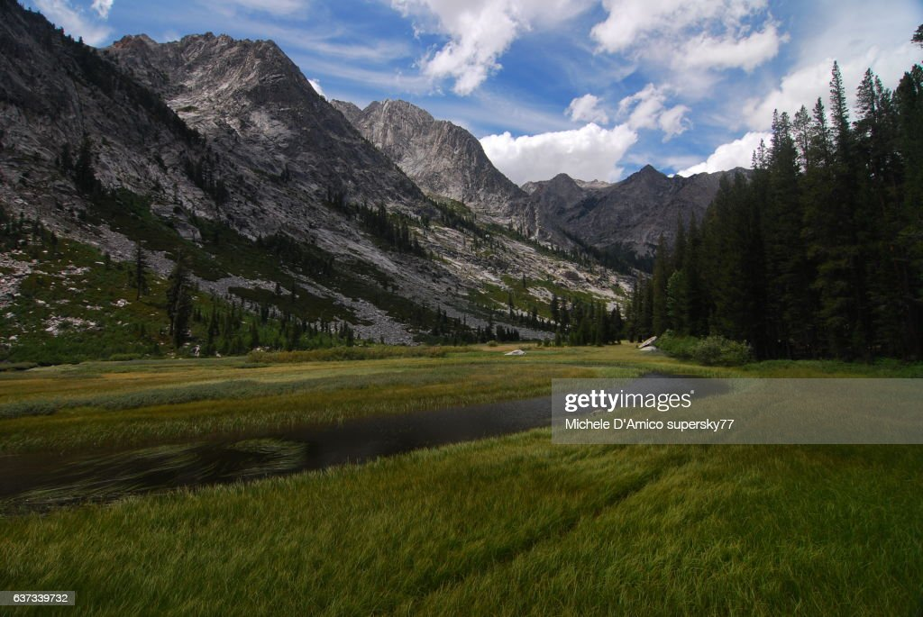 Still water of a river in the High Sierra : Stock Photo