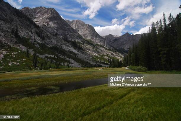 still water of a river in the high sierra - john muir trail stock photos and pictures
