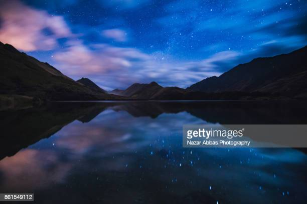 Still water reflection at Lake Moke, Queenstown, South Island, New Zealand.