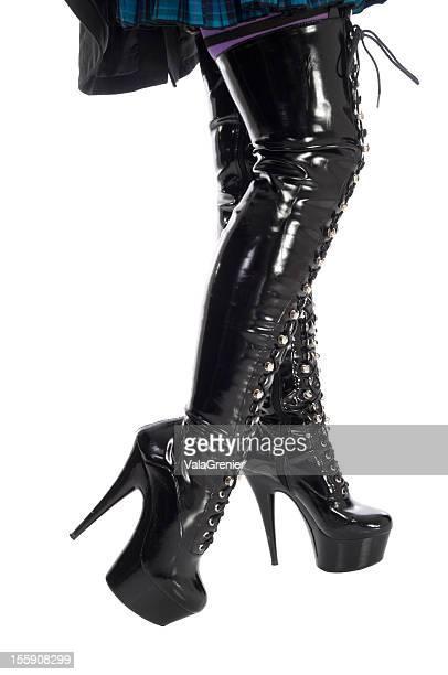 Stilletto heel, thigh-high boots.