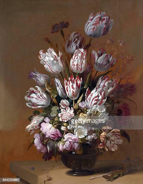 Stilleven met bloemen . 1639. Oil on panel. 67.6 x 53.3 cm . Rijksmuseum, Amsterdam, Netherlands.