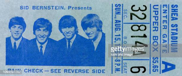 Stilllife of a Beatles ticket stub for their concert at Shea Stadium on August 15 1965 in Flushing New York The cost for the ticket was $565