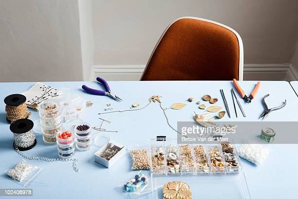 stilllife of jewellery-making. - bead stock pictures, royalty-free photos & images
