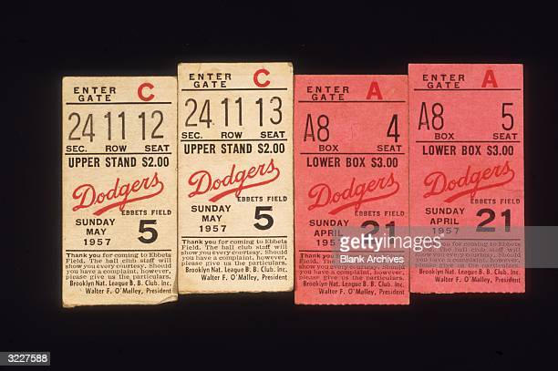 Stilllife of ticket stubs from Brooklyn Dodgers games at Ebbets Field