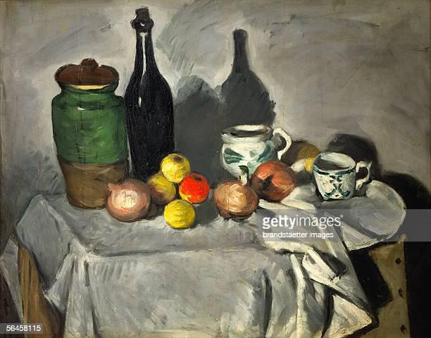 Stilllife Pots bottle cup and fruit Artist Paul Cezanne Oil on canvas 64 x 80 cm V 71 [Stillleben Toepfe Flaschen und Fruechte oel/Lw 1871 64 x 80 cm...