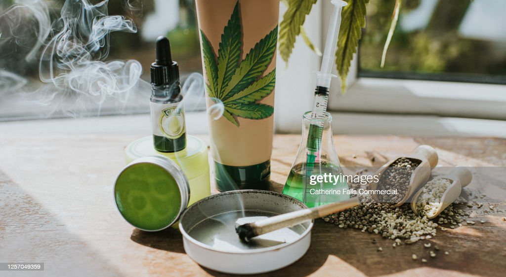 Still-Life Selection of CBD products, conveying vast possibilities of cannabis as an Ingredient in an Alternative therapies, Lifestyle and treatments. : Stock Photo