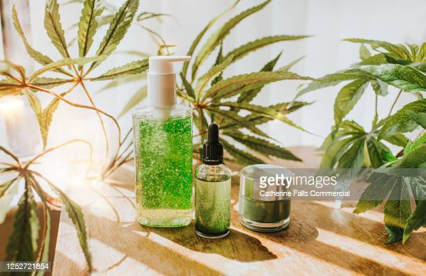 still-life selection of cbd products - medicine stock pictures, royalty-free photos & images