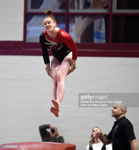MINNEAPOLIS MN Stillwater's Peyton Classon flips on the Vault during the 2019 Girls' Gymnastics 2A State Meet at Maturi Pavilion at the University of...