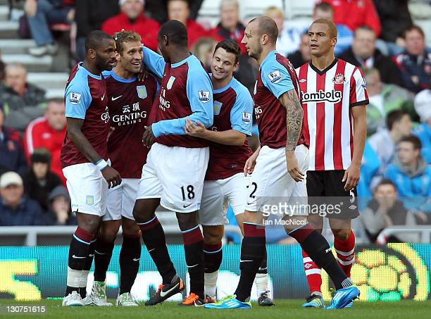 Stillyan Petrov of Aston Villa is congratulated on his opening goal during the Barclays Premier League match between Sunderland and Aston Villa at...