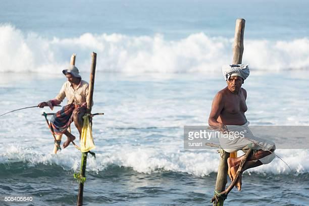 Échasse Weligama, les pêcheurs de Sri Lanka