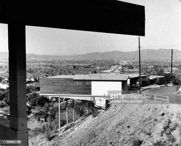 A stilt house designed by architect Richard J Neutra on a hillside in Sherman Oaks Los Angeles California circa 1965 These houses built on tubular...