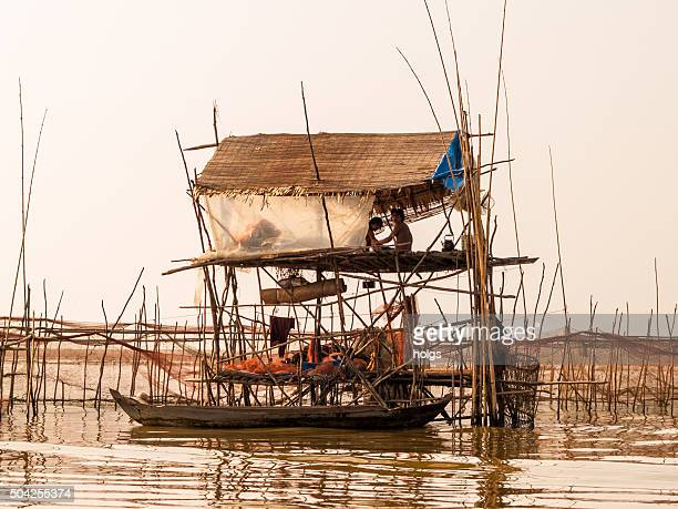 Stilt house in Tonle Sap in Siem Reap, Cambodia