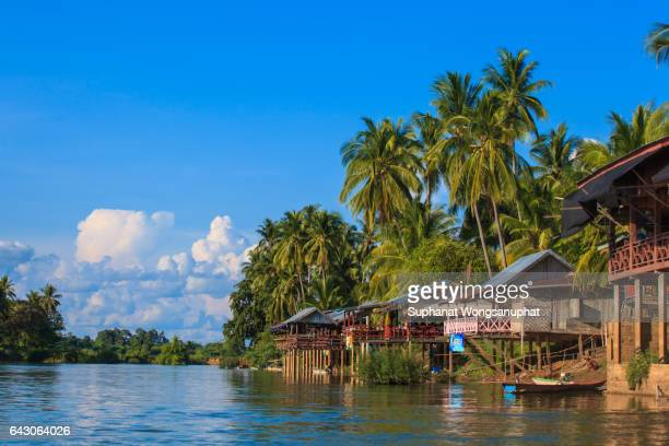Stilt houses at Mekong river, Laos and Thailand Boarder
