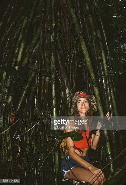 Stilt roots of palm Cathedral Rainforest Science Preserve Osa Peninsula Costa Rica Iriartea exorrhiza