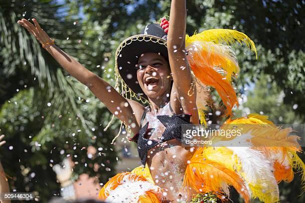 Stilt walker dances in the street during the Bloco das Mulheres Rodadas Carnival parade in Rio de Janeiro, Brazil, on Wednesday, Feb. 10, 2016. The...