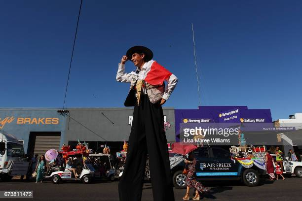 Stilt walker Joaquin PoveaGonzalez joins the Multicultural Tamworth floats on Peel Street during the Tamworth Country Music Festival Cavalcade on...