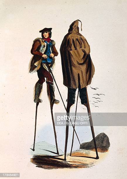 Stilt walkers of Landes engraving from Illustraions of Manners customs and costumes of all nations of world by Auguste Wahlen 18431844 France 19th...