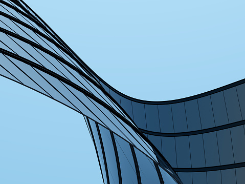 3D stimulate of high rise curve glass building and dark steel window system on blue clear sky background,Business concept of future architecture,lookup to the angle of the corner building. 1129141502
