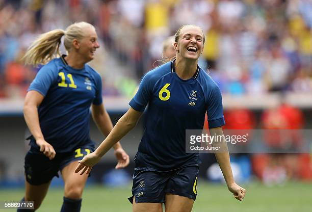 Stina Blackstenius and Magdalena Eriksson of Sweden celebrate their 11 win over team United States during the Women's Football Quarterfinal match at...