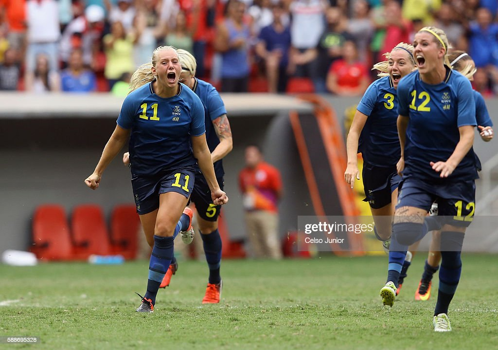 Stina Blackstenius #11 and Olivia Schough #12 of Sweden celebrates their 1-1 (4-3 PSO) win over team United States during the Women's Football Quarterfinal match at Mane Garrincha Stadium on Day 7 of the Rio 2016 Olympic Games on August 12, 2016 in Brasilia, Brazil.