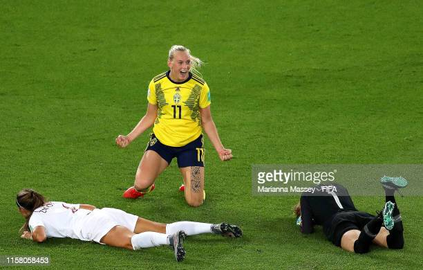 Stina Blackstenius of Sweden celebrates after scoring her team's first goal during the 2019 FIFA Women's World Cup France Round Of 16 match between...