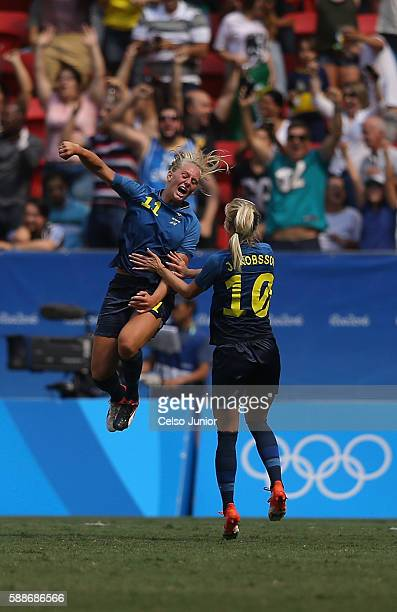 Stina Blackstenius of Sweden celebrates her goal with teammate Sofia Jakobsson in the second half against the United States during the Women's...