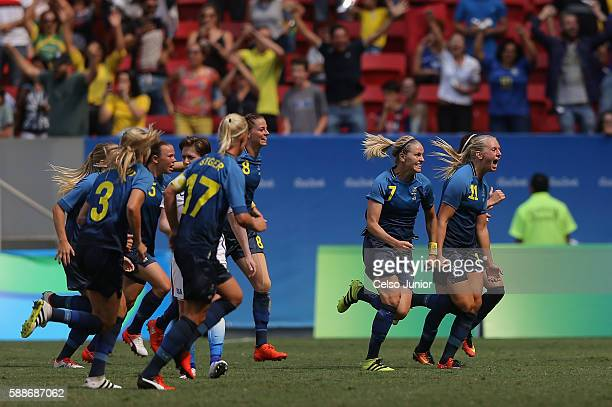 Stina Blackstenius of Sweden celebrates her goal with teammates in the second half against the United States during the Women's Football Quarterfinal...