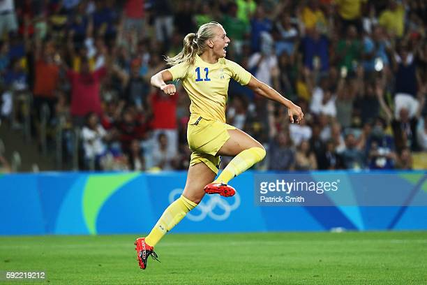 Stina Blackstenius of Sweden celebrates scoring during the Women's Olympic Gold Medal match between Sweden and Germany at Maracana Stadium on August...