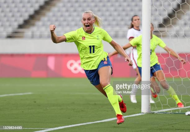 Stina Blackstenius of Team Sweden celebrates after scoring their side's first goal during the Women's First Round Group G match between Sweden and...