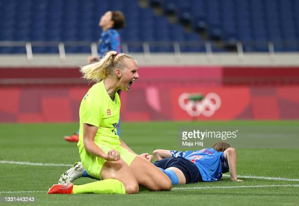 Stina Blackstenius of Team Sweden celebrates after scoring their side's second goal during the Women's Quarter Final match between Sweden and Japan...
