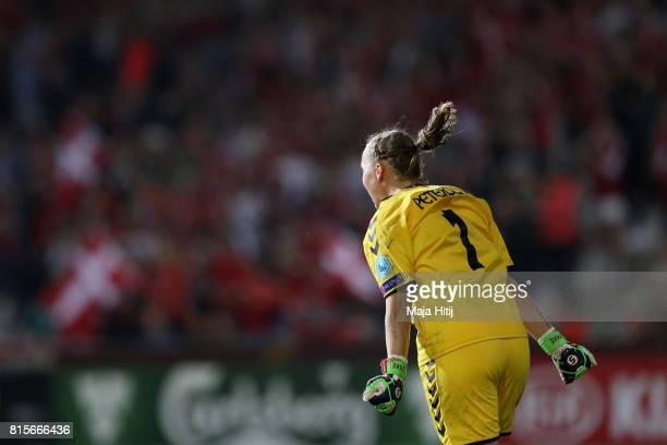 Stina Lykke Petersen of Denmark celebrates victory after the Group A match between Denmark and Belgium during the UEFA Women's Euro 2017 on July 16...