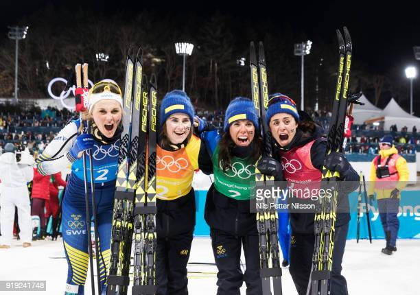 Stina Nilsson Ebba Andersson Charlotte Kalla and Anna Haag of Sweden during the Womens 4x5km Relay CrossCountry Skiing on day eight of the...