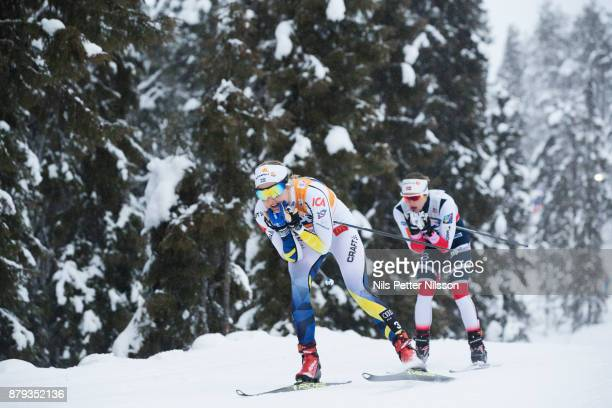 Stina Nilsson of Sweden and Ingvild Flugstad Oestberg of Norway during the ladies cross country 10K pursuit competition at FIS World Cup Ruka Nordic...