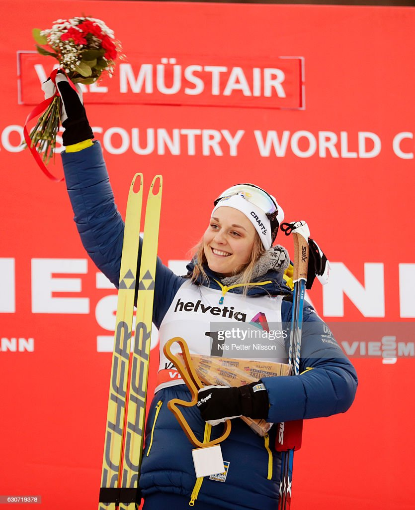 Stina Nilsson of Sweden celebrates after the victory during the women's Sprint F race on December 31, 2016 in Val Mustair, Switzerland.
